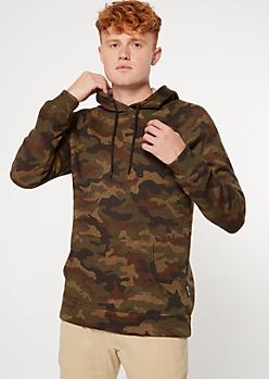 Camo Print Fleece Pullover Hoodie