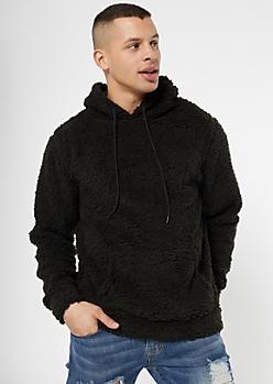 Black Sherpa Pullover Hoodie