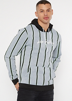 Gray Striped Hustling Graphic Hoodie