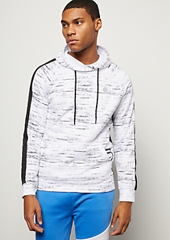 White Space Dye Side Striped Tech Hoodie