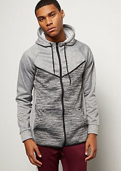 Gray Contrast Space Dye Tech Fleece Hoodie