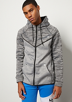 Charcoal Gray Contrast Space Dye Tech Fleece Hoodie