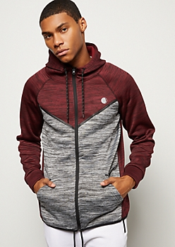 Burgundy Contrast Space Dye Tech Fleece Hoodie