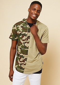 Olive Camo Print Split Color Short Sleeve Hoodie
