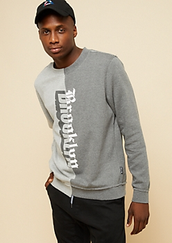 Gray Split Brooklyn Crew Neck Sweatshirt
