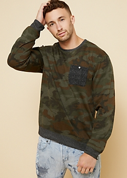 Camo Print Pocket Crew Neck Sweatshirt