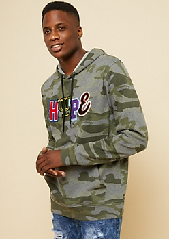 Camo Print Hype Mixed Patch Hoodie