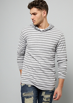 Gray Striped Long Sleeve Hooded Thermal Tee