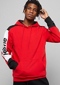 Red Hustle Colorblock Striped Sleeve Fleece Hoodie