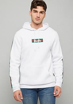 White Hustle Striped Sleeve Fleece Hoodie