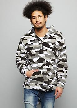 Gray Camo Print Sherpa Half Zip Hoodie