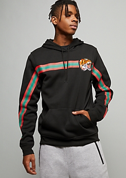 Black Striped Tiger Patch Fleece Graphic Hoodie