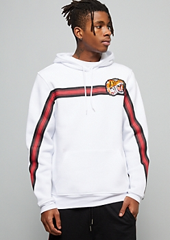 White Striped Tiger Patch Fleece Graphic Hoodie