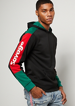 Black Colorblock Savage Sleeve Graphic Hoodie