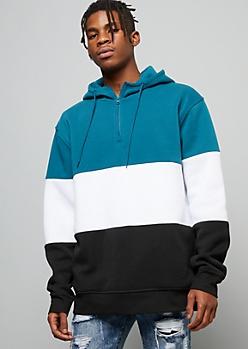 Teal Colorblock Half Zip Fleece Hoodie