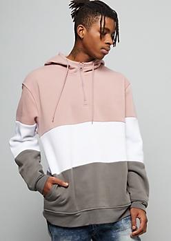Pink Colorblock Half Zip Fleece Hoodie