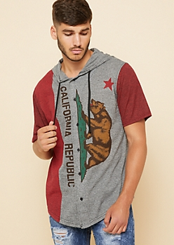 Red Marled California Bear Hooded Tee