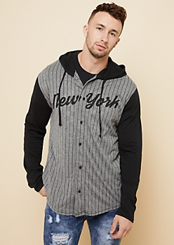 Gray Marled New York Pinstriped Hooded Tee