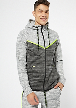 Gray Space Dye Neon Striped Zip Hoodie