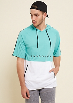Turquoise Good Vibes Colorblock Hoodie