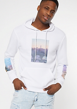 White Skyline Photo Graphic Hoodie