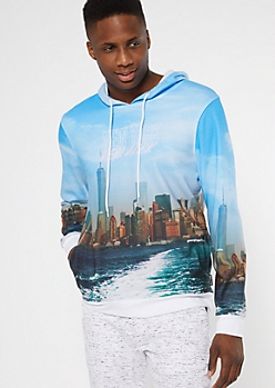 Blue New York Skyline Embroidered Hoodie