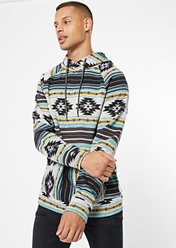 Mint Ikat Print Pullover Hoodie