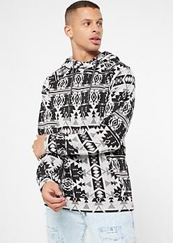Gray Ikat Print Pullover Hoodie