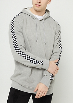 Heather Gray Checkered Drop Shoulder Hoodie