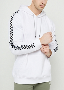 White Checkered Drop Shoulder Hoodie