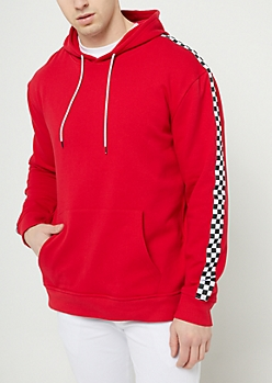 Red Checkered Drop Shoulder Hoodie