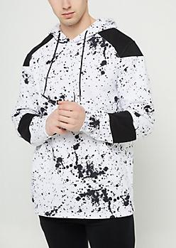 White Splatter Paint Hoodie