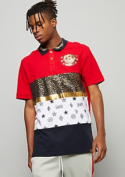 Red Colorblock Ivy League Metallic Graphic Polo Shirt
