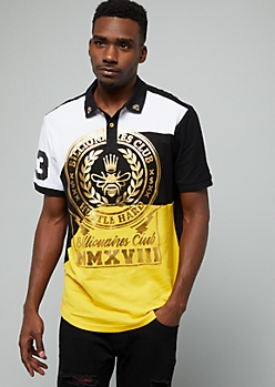 Yellow Gold Foil Billionaires Graphic Polo Shirt
