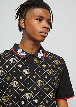 Black Gold Foil Panther Graphic Polo Shirt
