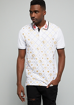 White Gold Foil Panther Graphic Polo Shirt