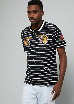 Black Striped Paint Splattered Tiger Graphic Polo Shirt