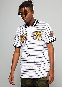 White Striped Paint Splattered Tiger Graphic Polo Shirt