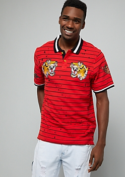 Red Striped Paint Splattered Tiger Graphic Polo Shirt
