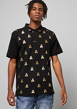 Black Gold Foil Money Bag Graphic Polo Shirt