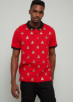 Red Gold Foil Money Bag Graphic Polo Shirt