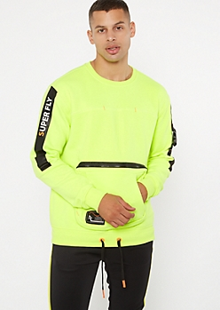 Neon Green Super Fly Buckled Sweatshirt