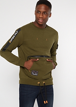 Olive Super Fly Buckled Sweatshirt