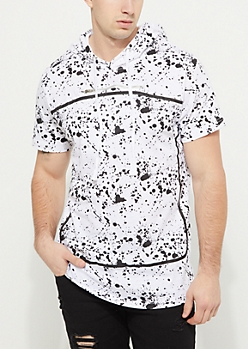 White Paint Splatter Print Zip Short Sleeve Hoodie