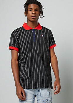 Black Pinstriped Contrast Collar Polo Shirt