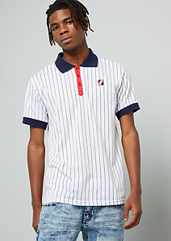 White Pinstriped Contrast Collar Polo Shirt