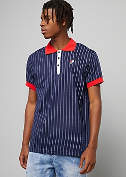 Navy Pinstriped Contrast Collar Polo Shirt