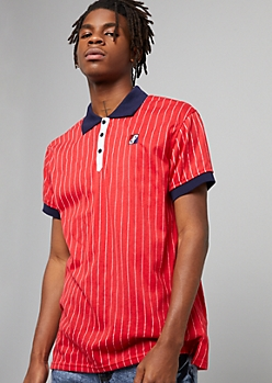 Red Pinstriped Contrast Collar Polo Shirt