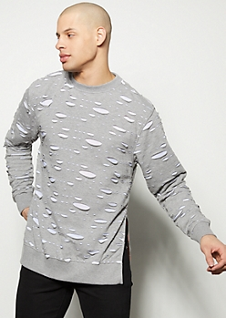 Gray Slashed Slide Slit Pullover