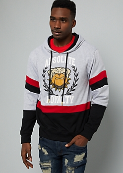 Gray Colorblock Absolute Loyalty Graphic Hoodie